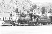 Fireman's-side view of C&amp;S #60 on display at Idaho Springs.<br /> C&amp;S  Idaho Springs, CO  Taken by Vollrath, Harold K. - 8/1947
