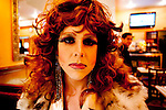 New York City, 2011. Honey La Bronx, 31, in a diner in Chelsea. Honey is a political activist as Drag Queen for gay equality and animal rights. She is vegan, no-smoke, no-drug, sober. Her dream is to have her own Vegan Cooking show.