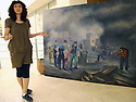 Iraq 2011 <br /> Suleimania: In the college of Fine Arts,  Julie Adnan, a student, showing her painting<br /> Irak 2011<br /> Julie Adnan, une eleve du college des Beaux Arts de Souleimania, presentant une de ses peintures