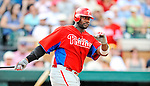 9 March 2011: Philadelphia Phillies' first baseman Ryan Howard in action during a Spring Training game against the Detroit Tigers at Joker Marchant Stadium in Lakeland, Florida. The Phillies defeated the Tigers 5-3 in Grapefruit League play. Mandatory Credit: Ed Wolfstein Photo