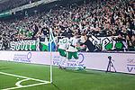 Stockholm 2014-04-14 Fotboll Superettan Hammarby IF - Degerfors IF :  <br /> Hammarbys Erik Israelsson har gjort 5-0 och jublar med Hammarbys supportrar tillsammans med Hammarbys Amadayia Rennie <br /> (Foto: Kenta J&ouml;nsson) Nyckelord:  HIF Bajen Degerfors jubel gl&auml;dje lycka glad happy supporter fans publik supporters