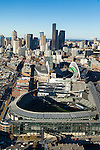 Aerial view of Safeco Field, CenturyLink Field and Seattle skyline