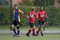 Redbridge & Ilford celebrate scoring their first goal during Upminster HC 2nd XI vs Redbridge & Ilford HC, East Region League Field Hockey at the Coopers Company and Coborn School on 5th October 2019