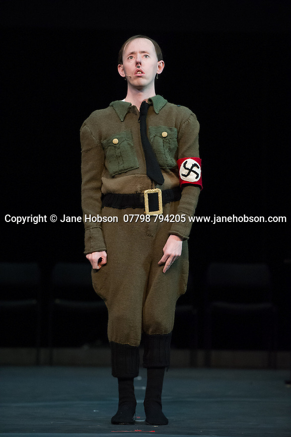 Edinburgh, UK. 09.08.2014.  GANESH VERSUS THE THIRD REICH, presented by Australian company, Back to Back Theatre, opens at the Royal Lyceum Theatre, as part of the Edinburgh International Festival. Picture shows:  Simon Laherty. Photograph © Jane Hobson.