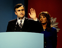 Montreal (Qc) CANADA - File Photo - Oct 30 1995 -<br /> <br /> Lucien Bouchard, Leader Bloc Quebecois and wife  adress the crowd present at the Montreal Convention Centre on the Referendum night, Oct 30 1995.<br /> <br /> The 1995 Quebec referendum was the second referendum to ask voters in the Canadian province of Quebec whether Quebec should secede from Canada and become an independent state, through the question:<br /> <br />     * Do you agree that Qu&Egrave;bec should become sovereign after having made a formal offer to Canada for a new economic and political partnership within the scope of the bill respecting the future of Qu&Egrave;bec and of the agreement signed on June 12, 1995?.<br /> <br /> The 1995 referendum differed from the first referendum on Quebec's sovereignty in that the 1980 question proposed to negotiate &quot;sovereignty-association&quot; with the Canadian government, while the 1995 question proposed &quot;sovereignty&quot;, along with an optional partnership offer to the rest of Canada.<br /> <br /> The referendum took place in Quebec on October 30, 1995, and the motion to decide whether Quebec should secede from Canada was defeated by a very narrow margin of: 50.58% &quot;No&quot; to 49.42% &quot;Yes&quot;.