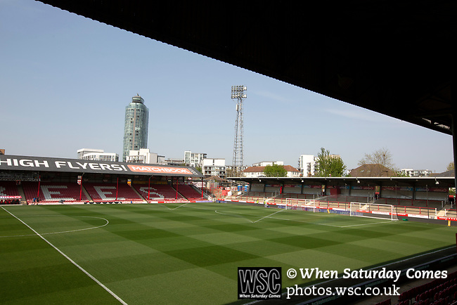 An interior view of the stadium showing the New Road stand and Ealing Road terrace before Brentford hosted Leeds United in an EFL Championship match at Griffin Park. Formed in 1889, Brentford have played their home games at Griffin Park since 1904, but are moving to a new purpose-built stadium nearby. The home team won this match by 2-0 watched by a crowd of 11,580.