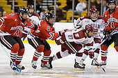 Yale Lewis (NU - 20), Ray Ortiz (NU - 15), Kevin Du (Harvard - 27), Brendan Byrne (Harvard - 29), ? - The Northeastern University Huskies defeated the Harvard University Crimson 3-1 in the Beanpot consolation game on Monday, February 12, 2007, at TD Banknorth Garden in Boston, Massachusetts.