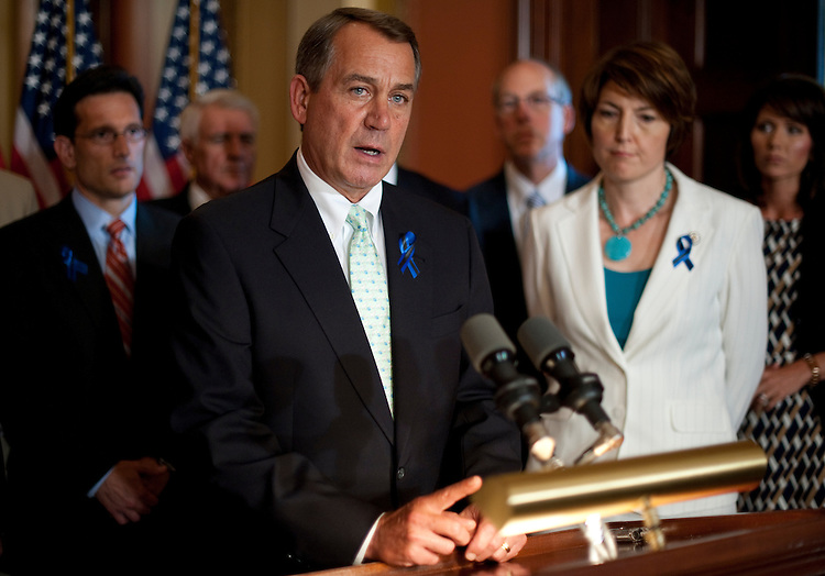 UNITED STATES - JULY 25: Speaker of the House John Boehner, R-Ohio, flanked by House Republican leaders, speaks to the media about the debt ceiling talks on Monday, July 25, 2011. (Photo By Bill Clark/Roll Call)