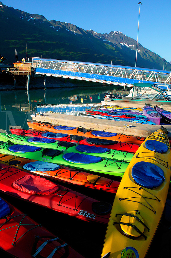 Kayaks in the Valdez Small Boat Harbor, Valdez, Alaska