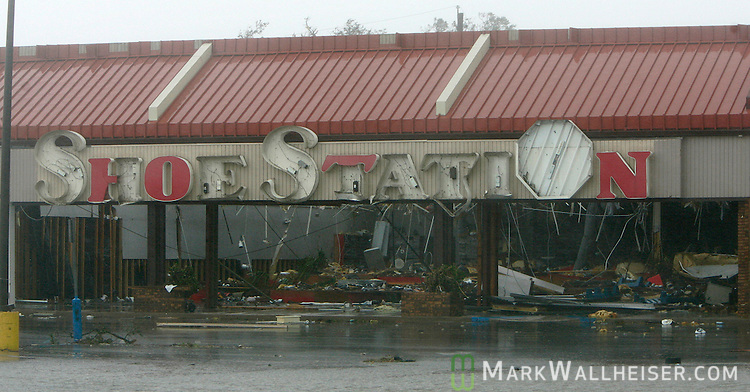 The Shoe Station, along with the majority of business in the Edgewater Village shopping Center, sustained extreme damage from Hurricane Katrina August 29, 2005.  The shopping center is one block away from the Gulf of Mexico and much of it collasped during the peak of the catagory 4 storm.