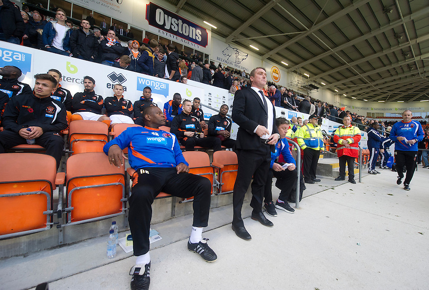 Blackpool manager Lee Clark in charge of his first match of his new club takes his place in the dugout before the kick off <br /> <br /> Photographer Stephen White/CameraSport<br /> <br /> Football - The Football League Sky Bet Championship - Blackpool v Ipswich Town - Saturday 1st November 2014 - Bloomfield Road - Blackpool<br /> <br /> &copy; CameraSport - 43 Linden Ave. Countesthorpe. Leicester. England. LE8 5PG - Tel: +44 (0) 116 277 4147 - admin@camerasport.com - www.camerasport.com