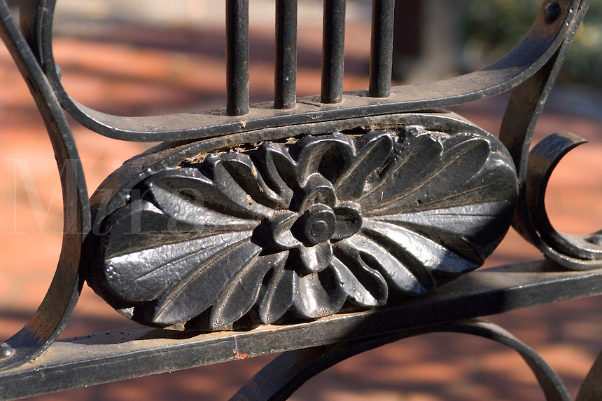 Wrought iron fence in front of the Bolling Haxal House in Richmond, Virginia.