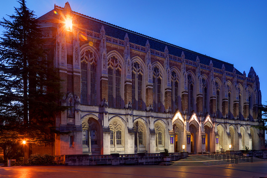 Suzzallo Library at twilight, University of Washington, Seattle, Washington, USA