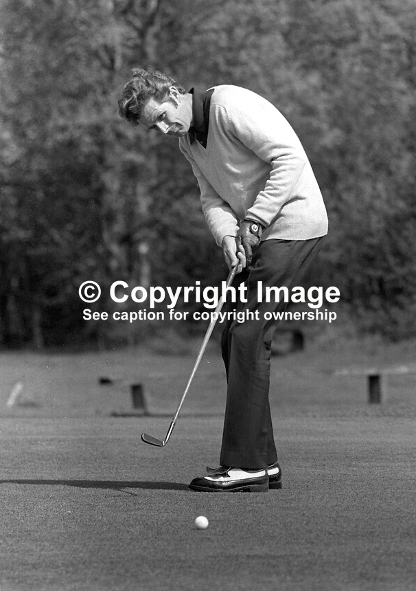 Harry Middleton, professional golfer, Shandon Park Golf Club, Belfast, N Ireland, who emigrated to South Africa in the 1970's. 197305020244c<br /> <br /> Copyright Image from Victor Patterson, 54 Dorchester Park, Belfast, UK, BT9 6RJ<br /> <br /> t1: +44 28 9066 1296 (from Rep of Ireland 048 9066 1296)<br /> t2: +44 28 9002 2446 (from Rep of Ireland 048 9002 2446)<br /> m: +44 7802 353836<br /> <br /> e1: victorpatterson@me.com<br /> e2: victorpatterson@gmail.com<br /> <br /> The use of my copyright images is subject to my Terms &amp; Conditions.<br /> <br /> It is IMPORTANT that you familiarise yourself with them. They are available on my website at www.victorpatterson.com.<br /> <br /> None of my copyright images may be used on a website unless they are visibly watermarked, i.e. &copy; Victor Patterson within the body of the visible image. Metadata denoting my copyright must NOT be deleted. <br /> <br /> Web use (maximum size - 300 kb) is extra at currently recommended NUJ rates.