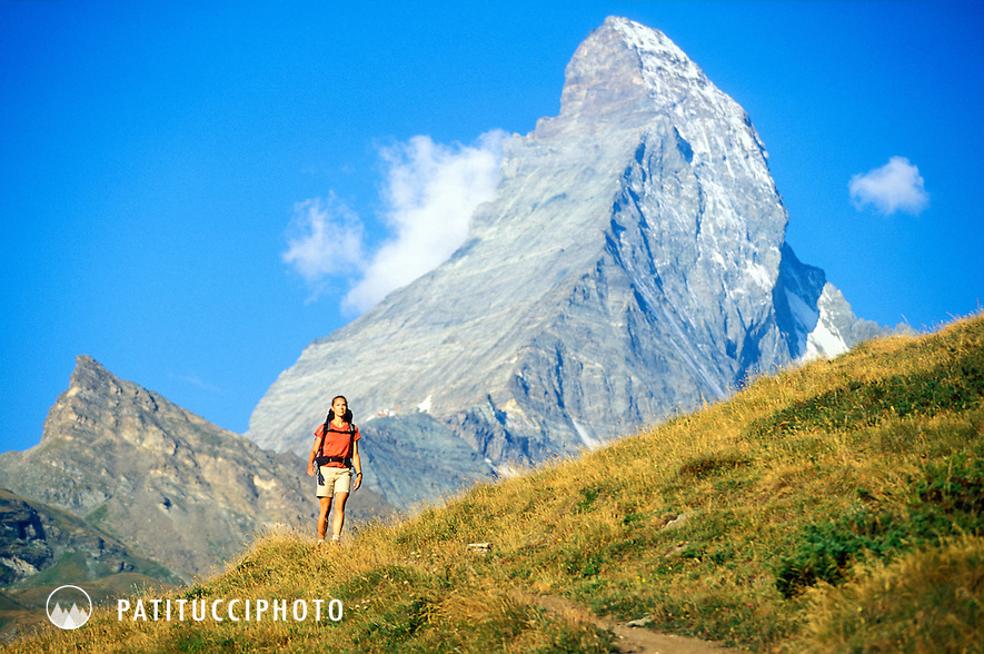 Keri Hipp hiking on the Panoramaweg above Zermatt, Switzerland. The Matterhorn is in the background
