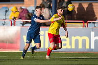8th February 2020; Dens Park, Dundee, Scotland; Scottish Championship Football, Dundee versus Partick Thistle; Jamie Barjonas of Partick Thistle and Shaun Byrne of Dundee
