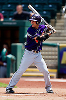 Kevin Kaczmarski (4) of the Evansville Purple Aces at bat during a game against the Missouri State Bears at Hammons Field on May 12, 2012 in Springfield, Missouri. (David Welker/Four Seam Images)
