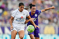 Orlando, FL - Saturday Sept. 24, 2016: Brittany Taylor, Lisa De Vanna during a regular season National Women's Soccer League (NWSL) match between the Orlando Pride and FC Kansas City at Camping World Stadium.