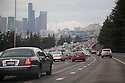 Heavy Traffic on northbound Interstate 5 towards downtown Seattle. Washington, USA
