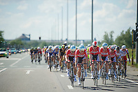 the Lotto-Belisol sprint train of André Greipel leading the peloton in the Antwerp Harbour<br /> <br /> 3rd World Ports Classic 2014<br /> stage 1: Rotterdam - Antwerpen 195km