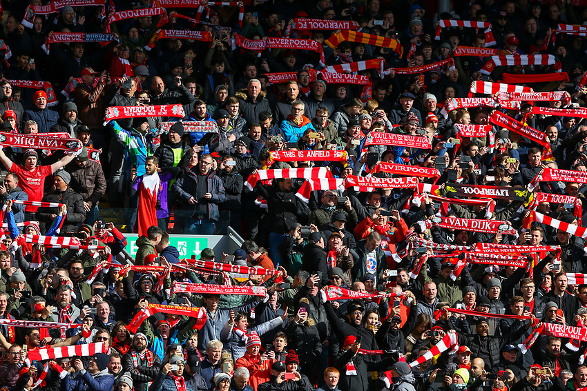 Liverpool fans create an atmosphere before the game<br /> <br /> Photographer Alex Dodd/CameraSport<br /> <br /> The Premier League - Liverpool v Burnley - Sunday 10th March 2019 - Anfield - Liverpool<br /> <br /> World Copyright © 2019 CameraSport. All rights reserved. 43 Linden Ave. Countesthorpe. Leicester. England. LE8 5PG - Tel: +44 (0) 116 277 4147 - admin@camerasport.com - www.camerasport.com