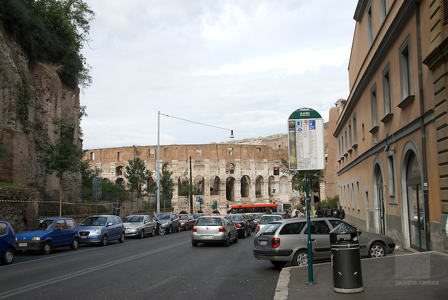 view on coloseum from bus stand, rome, italy