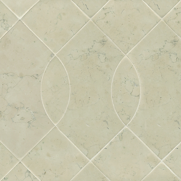 Vivian, a stone water jet mosaic, shown in Bianco Antico, is part of the Ann Sacks Beau Monde collection sold exclusively at www.annsacks.com