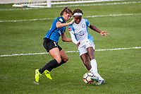 Kansas City, MO - Wednesday August 16, 2017: Brittany Taylor, Chioma Ubogagu during a regular season National Women's Soccer League (NWSL) match between FC Kansas City and the Orlando Pride at Children's Mercy Victory Field.