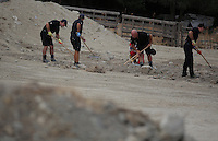 Pictured: Forensics officers and Red Cross volunteers go through soil at the farmhouse site, where Ben Needham disappeared from in Kos, Greece. Wednesday 12 October 2016<br /> Re: Police teams led by South Yorkshire Police are searching for missing toddler Ben Needham on the Greek island of Kos.<br /> Ben, from Sheffield, was 21 months old when he disappeared on 24 July 1991 during a family holiday.<br /> Digging has begun at a new site after a fresh line of inquiry suggested he could have been crushed by a digger.