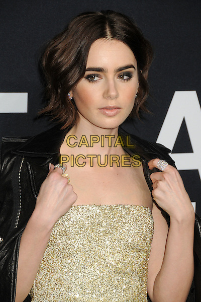 10 February 2016 - Los Angeles, California - Lily Collins. Saint Laurent At The Palladium held at the Hollywood Palladium. <br /> CAP/ADM/BP<br /> &copy;BP/ADM/Capital Pictures