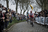 Damien Touze (FRA/Cofidis) leading the early break away group over the cobbles of the Paddestraat, <br /> <br /> 103rd Ronde van Vlaanderen 2019<br /> One day race from Antwerp to Oudenaarde (BEL/270km)<br /> <br /> ©kramon