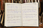 Pictured:  Russ has kept note of the miles he has cycled each day, written within dozens of diaries.<br /> <br /> Retired civil servant Russ Mantle is set to become the first person in the UK to cycle one million miles in their lifetime - having meticulously recorded his mileage for 67 years.  The keen cyclist will this week achieve the astonishing milestone at the age of 82 on his cherished Holdsworth road bike which he has owned since 1964.<br /> <br /> Since 1952 Mr Mantle has carefully recorded every ride in his diary as he cycled to and from work, competed in races and pedalled up some of the world's highest mountains during tours across Europe and America.  Mr Mantle - nicknamed 'mile-eater Mantle' by admiring friends in the cycling community - completed a staggering 22,550 miles in 2001, which is nearly enough to circumnavigate the globe.  SEE OUR COPY FOR DETAILS.<br /> <br /> © Simon Czapp/Solent News & Photo Agency<br /> UK +44 (0) 2380 458800