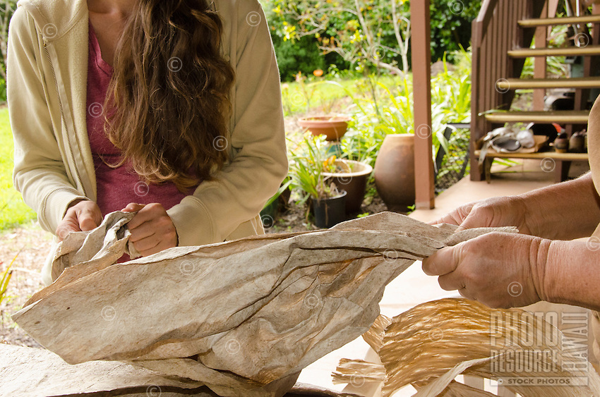 Kapa-maker Roen Hufford (right) and a young woman crumple beaten paper mulberry bark by hand to further soften it before dying it with colors, Big Island.