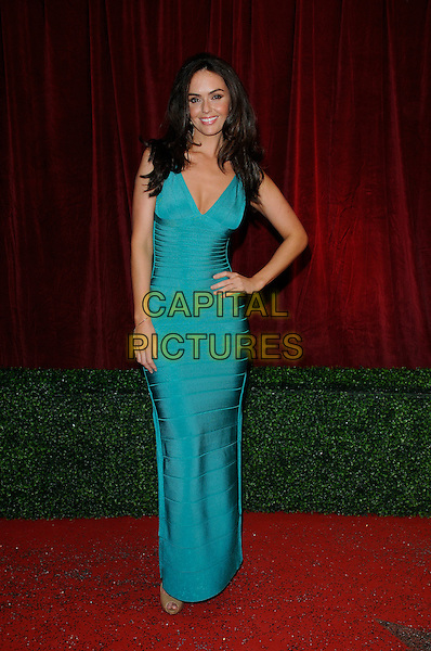 Jennifer Metcalfe .Hollyoaks .Attending the British Soap Awards 2012.at the London Television Centre, London, England, UK, 28th April 2012..arrivals full length  turquoise green blue bandage dress long maxi hand on hip slit split .CAP/CAN.©Can Nguyen/Capital Pictures.