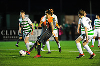 Pictured: Simon Paulet of Swansea City u19's scores his side's second goal during the FAW youth cup final between Swansea City and The New Saints at Park Avenue in Aberystwyth Town, Wales, UK.<br /> Wednesday 17 April 2019