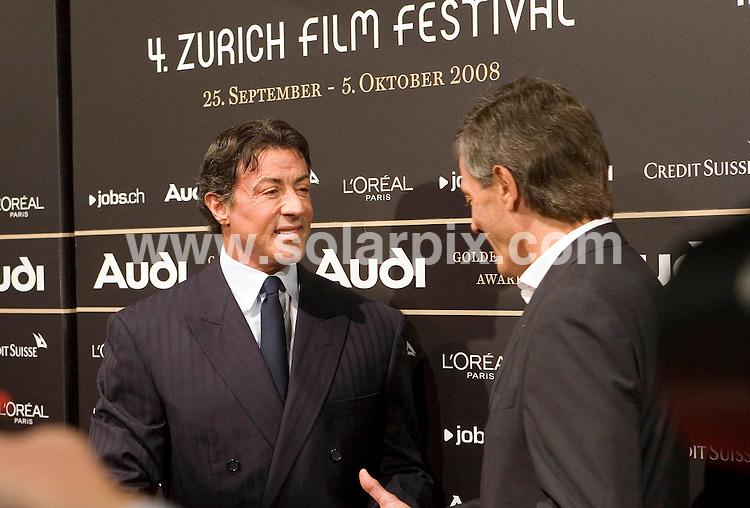 **ALL ROUND PICTURES FROM SOLARPIX.COM**.**SYNDICATION RIGHTS FOR UK AND SPAIN ONLY**.Sylvester Stallone showing the years of plastic surgery at the 4th Zurich Film Festival before the awards ceremony of the Golden Icon Awards in the cinema Corso in Zurich.JOB REF:    7479   CPR/Demarmels       DATE: 26.09.08.**MUST CREDIT SOLARPIX.COM OR DOUBLE FEE WILL BE CHARGED* *UNDER NO CIRCUMSTANCES IS THIS IMAGE TO BE REPRODUCED FOR ANY ONLINE EDITION WITHOUT PRIOR PERMISSION*
