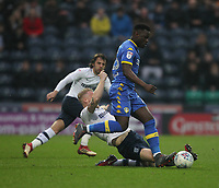 Preston North End's Tom Clarke in action with Leeds United's Ronaldo Vieira<br /> <br /> Photographer Mick Walker/CameraSport<br /> <br /> The EFL Sky Bet Championship - Preston North End v Leeds United - Tuesday 10th April 2018 - Deepdale Stadium - Preston<br /> <br /> World Copyright &copy; 2018 CameraSport. All rights reserved. 43 Linden Ave. Countesthorpe. Leicester. England. LE8 5PG - Tel: +44 (0) 116 277 4147 - admin@camerasport.com - www.camerasport.com