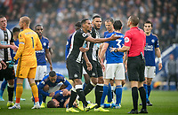 Isaac Hayden of Newcastle United argues with Referee Craig Pawson after being sent off for a challenge on Dennis Praet of Leicester City during the Premier League match between Leicester City and Newcastle United at the King Power Stadium, Leicester, England on 29 September 2019. Photo by Andy Rowland.