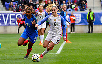 Harrison, N.J. - Sunday March 04, 2018: Grace Geyoro, Morgan Brian during a 2018 SheBelieves Cup match between the women's national teams of the United States (USA) and France (FRA) at Red Bull Arena.