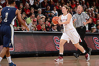 STANFORD, CA - DECEMBER 28: Toni Kokenis of Stanford women's basketball passes in a game against Xavier on December 28, 2010 at Maples Pavilion in Stanford, California.  Stanford topped Xavier, 89-52.