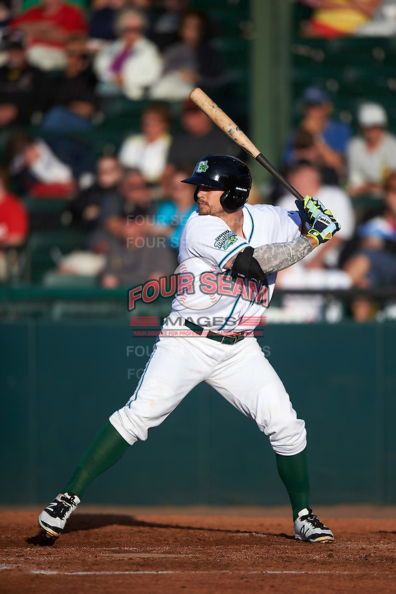 Daytona Tortugas first baseman Brian O'Grady (12) at bat during a game against the Fort Myers Miracle on April 17, 2016 at Jackie Robinson Ballpark in Daytona, Florida.  Fort Myers defeated Daytona 9-0.  (Mike Janes/Four Seam Images)