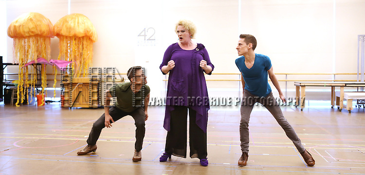 Scott Leiendecker, Liz McCartney & Sean Patrick Doyle  performing at  the In-Studio Press Preview for the Paper Mill Playhouse Production of Disney's 'The Little Mermaid' at the New 42nd Street Studios in New York City on 5/9/2013..