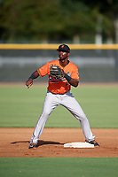 Baltimore Orioles Carlos Baez (40) during practice before an Instructional League game against the New York Yankees on September 23, 2017 at the Yankees Minor League Complex in Tampa, Florida.  (Mike Janes/Four Seam Images)