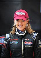 Nov. 2, 2008; Las Vegas, NV, USA: NHRA top fuel dragster driver Hillary Will during the Las Vegas Nationals at The Strip in Las Vegas. Mandatory Credit: Mark J. Rebilas-