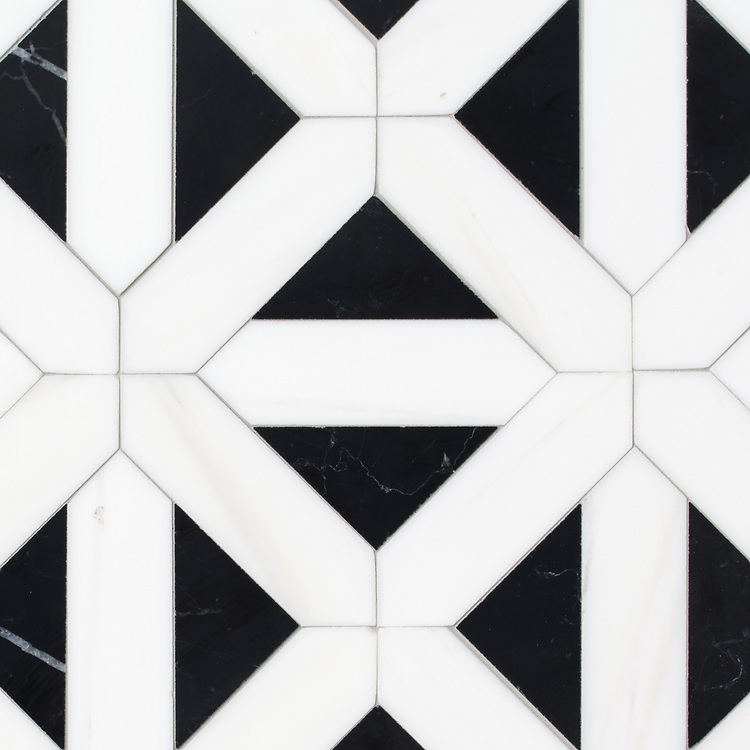 Joie Grand, a hand-cut stone mosaic, shown in polished Nero Marquina and Dolomite, is part of the Semplice® collection for New Ravenna.