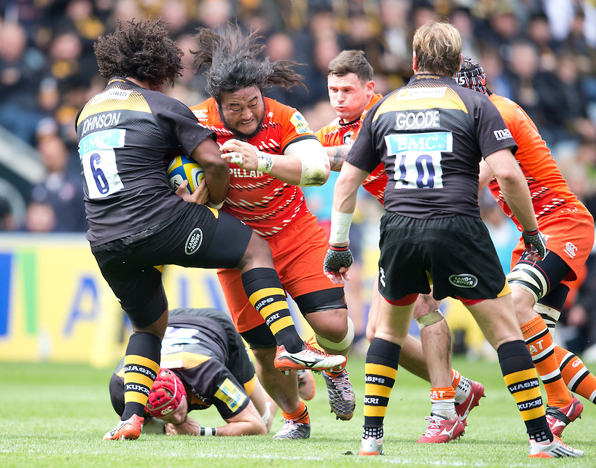 Leicester Tigers' Logovi'i Mulipola is tackled by Wasps' Ashley Johnson<br /> <br /> Photographer Stephen White/CameraSport<br /> <br /> Rugby Union - Aviva Premiership - Wasps v Leicester Tigers - Saturday 9th May 2015 - Ricoh Arena - Coventry<br /> <br /> &copy; CameraSport - 43 Linden Ave. Countesthorpe. Leicester. England. LE8 5PG - Tel: +44 (0) 116 277 4147 - admin@camerasport.com - www.camerasport.com