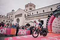 European TT champion Victor Campenaerts (BEL/Lotto-Soudal) at the start of the iTT<br /> <br /> stage 16: Trento &ndash; Rovereto iTT (34.2 km)<br /> 101th Giro d'Italia 2018