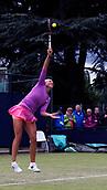 June 12th 2017,  Nottingham, England; WTA Aegon Nottingham Open Tennis Tournament day3; Yanina Wickmeyer of Belgium serves against Elizaveta Kulichikova of Russia