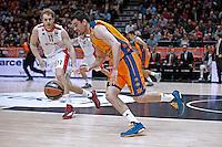 VALENCIA, SPAIN - 05/12/2014. Blazic del Estrella Roja y Martinez del Valencia Basket durante el partido. Pabellon Fuente de San Luis, Valencia, Spain.