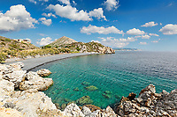 The famous beach Mavra Volia in Chios island, Greece